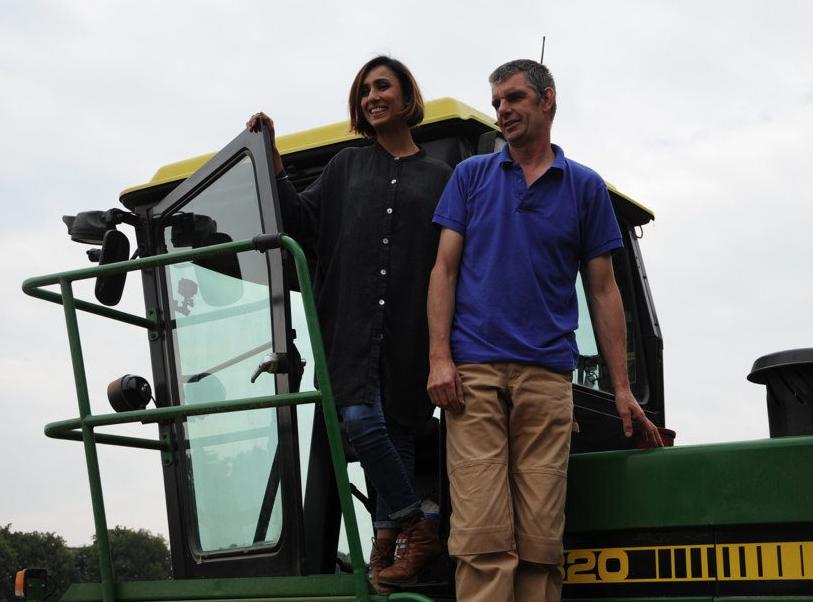 BBC Countryfile presenter Anita Rani climbs aboard the Summerdown Tractor.
